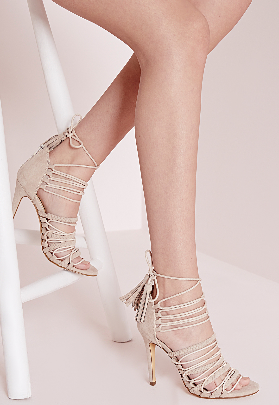 37a1e93911e Lyst - Missguided Ultra Strappy Lace Up Heeled Sandals Nude in Natural