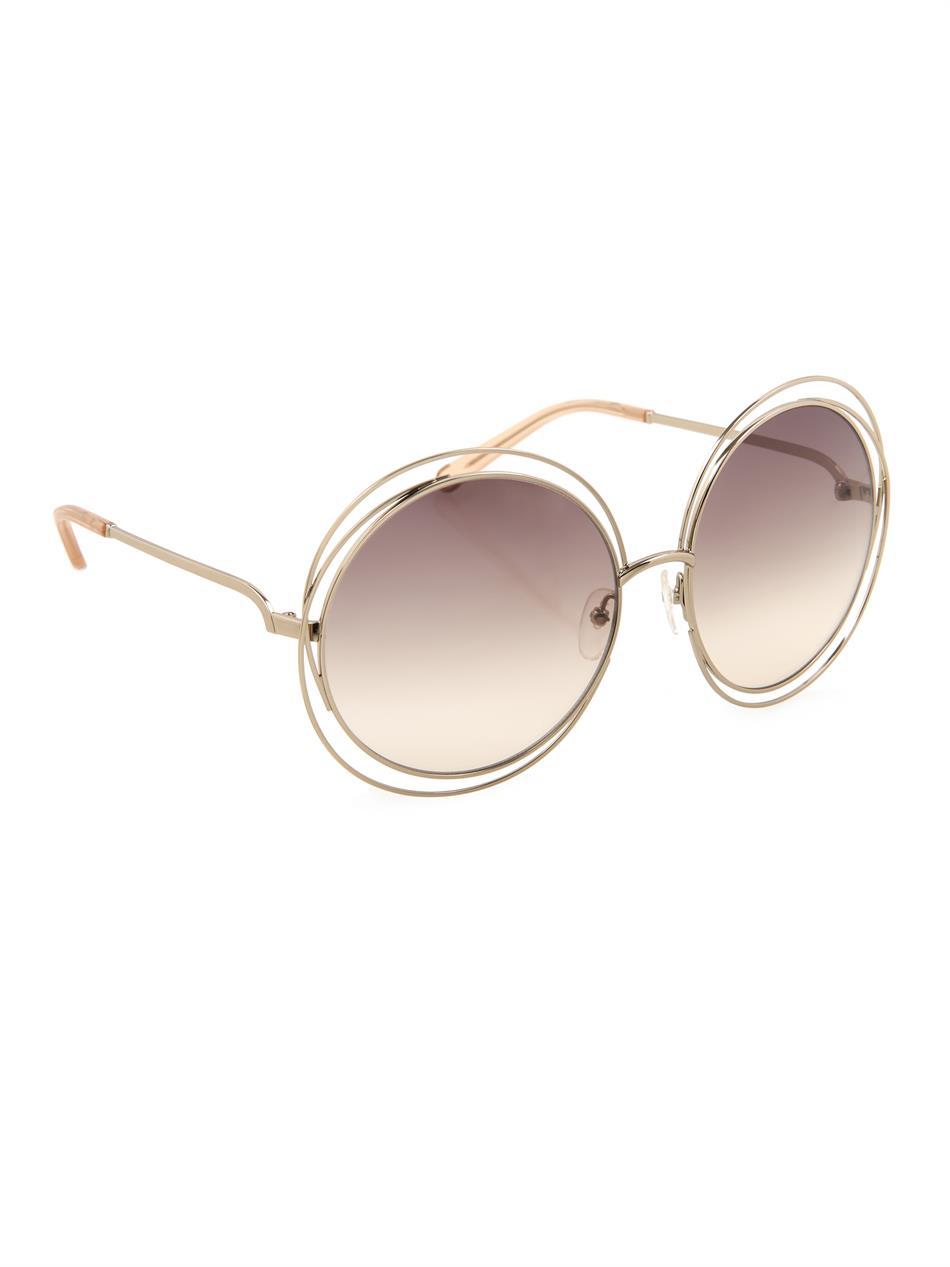 Chloe Gold Frame Sunglasses : Chloe Oversized Round-framed Sunglasses in Gold (Metallic ...