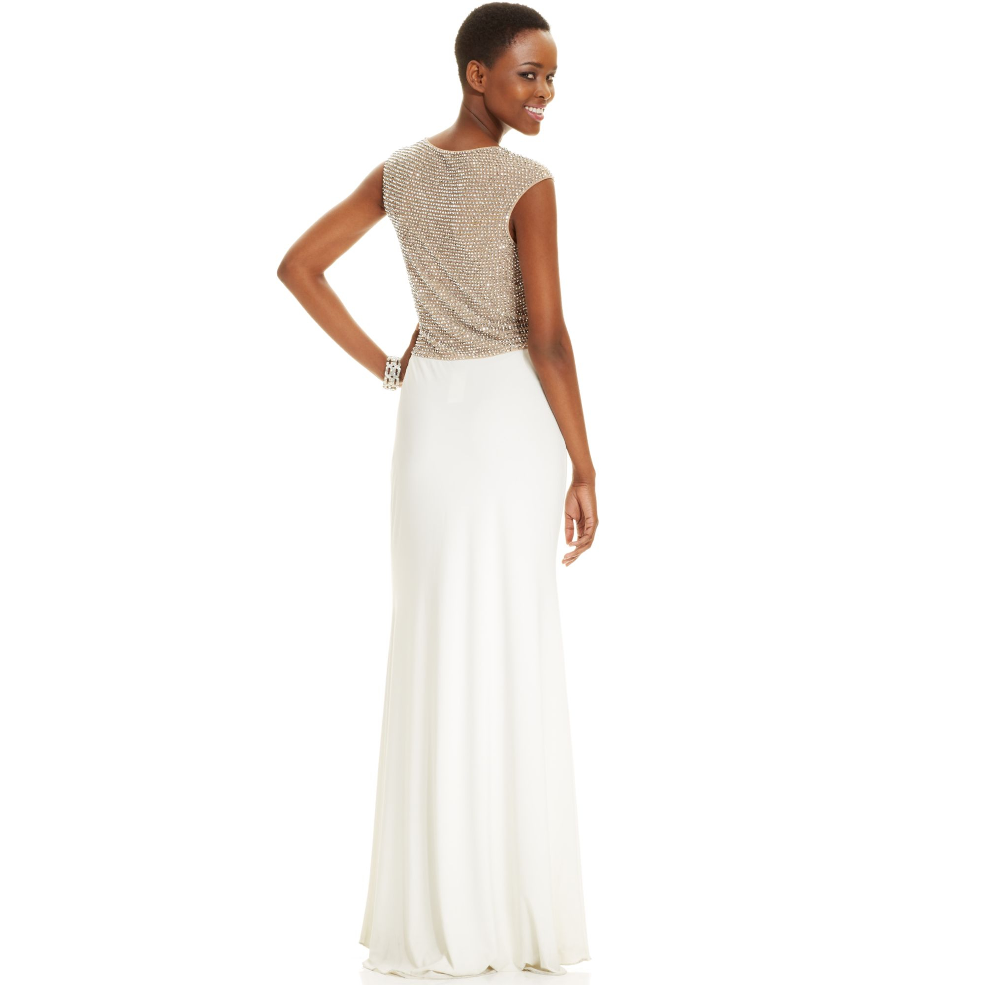 Lyst - Xscape Capsleeve Jewelback Gown in White