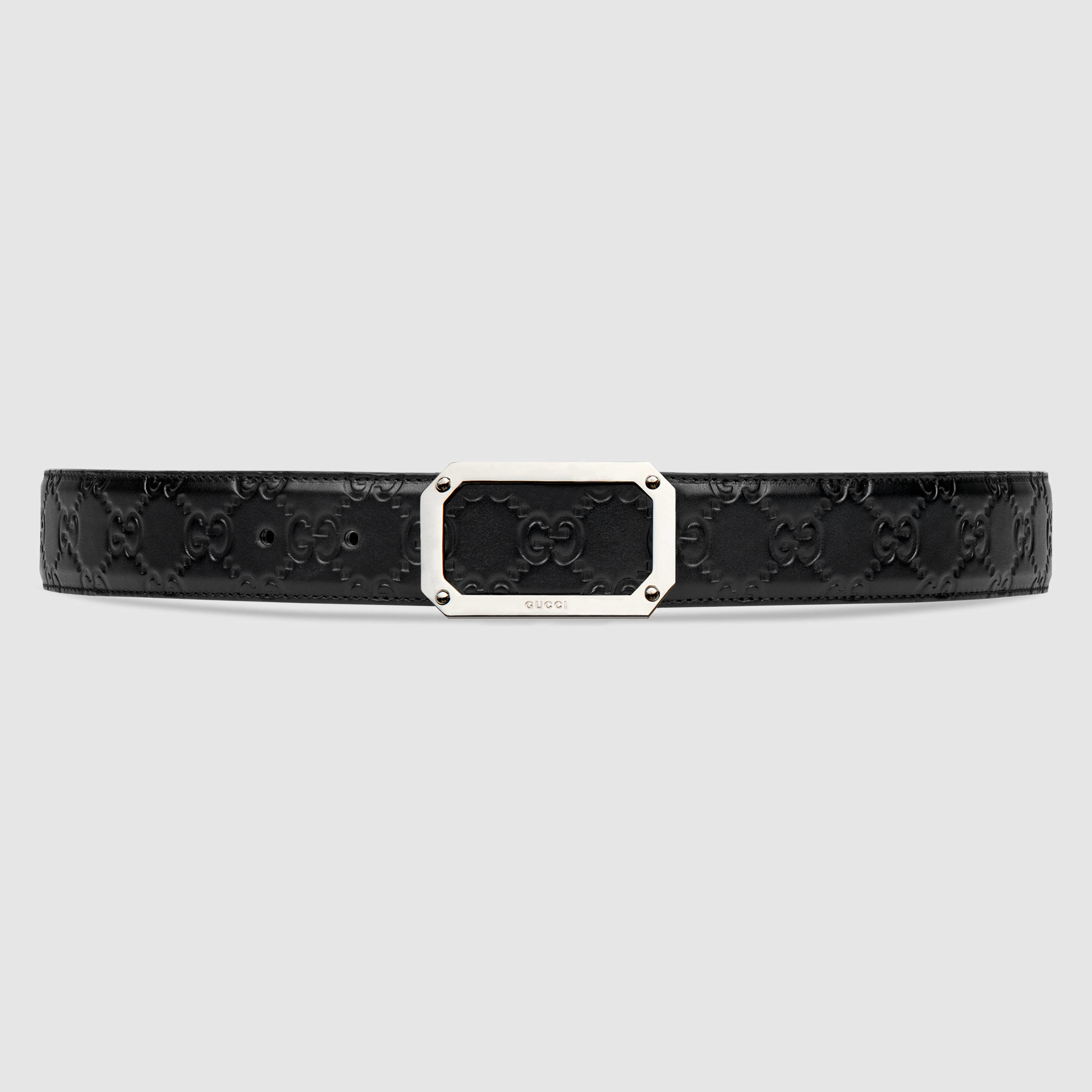 gucci signature leather belt in black for lyst