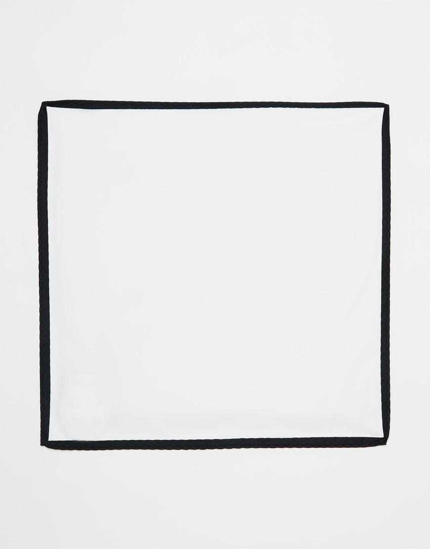 6867fdf2a01a5 ASOS Pocket Square In White With Contrast Black Border in Black for ...