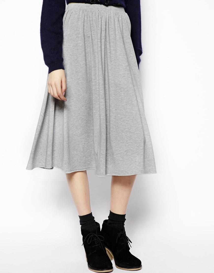 Asos Full Midi Skirt in Gray | Lyst