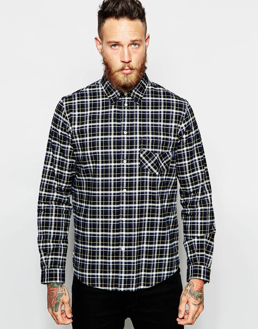 Paul smith check print flannel shirt in blue for men lyst for Flannel shirt and jeans