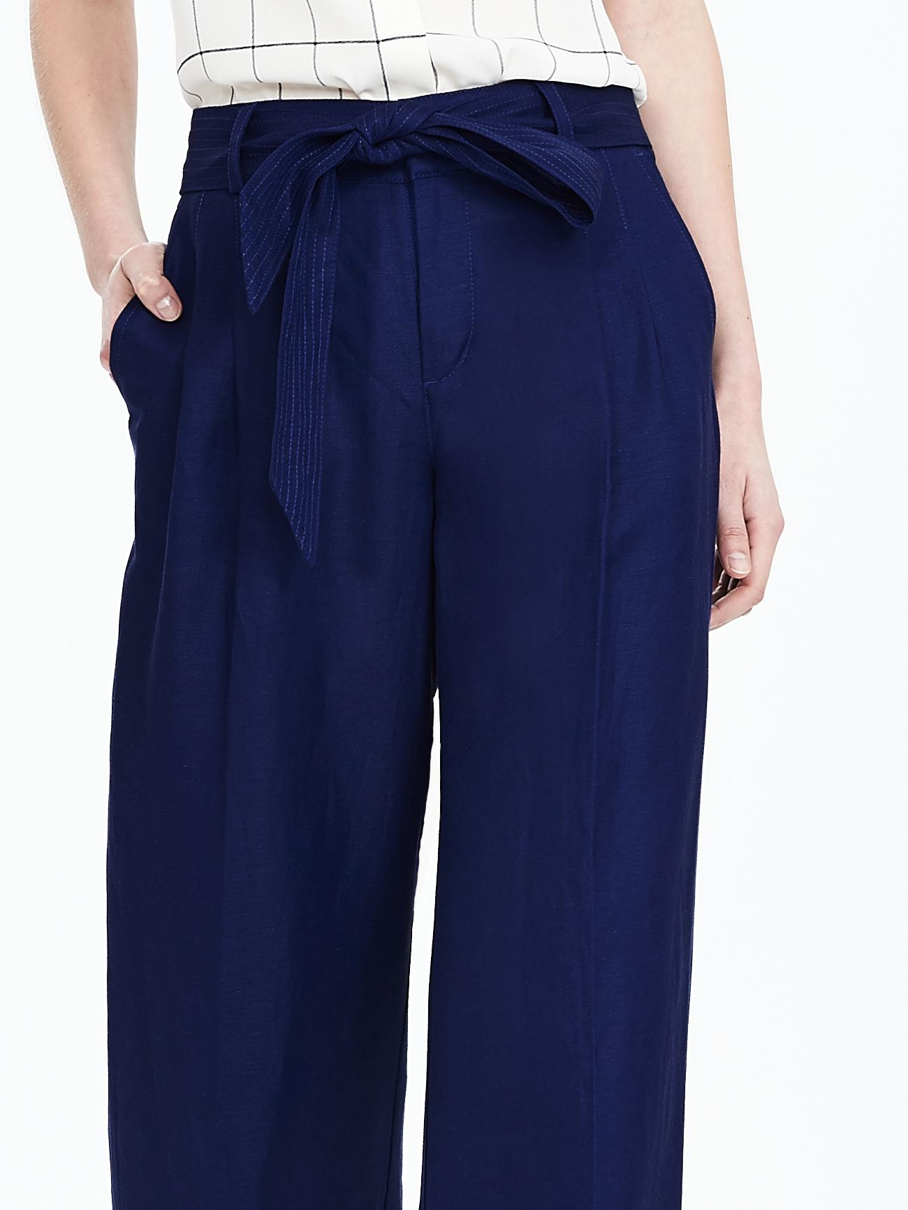 Banana republic Linen blend Belted Wide leg Pant in Blue