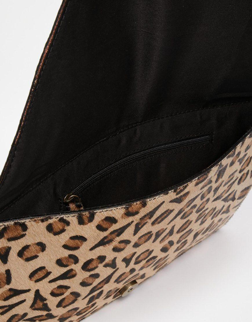 Lyst - ASOS Leather Clutch Bag In Leopard Pony Effect 579feaac5a7b7