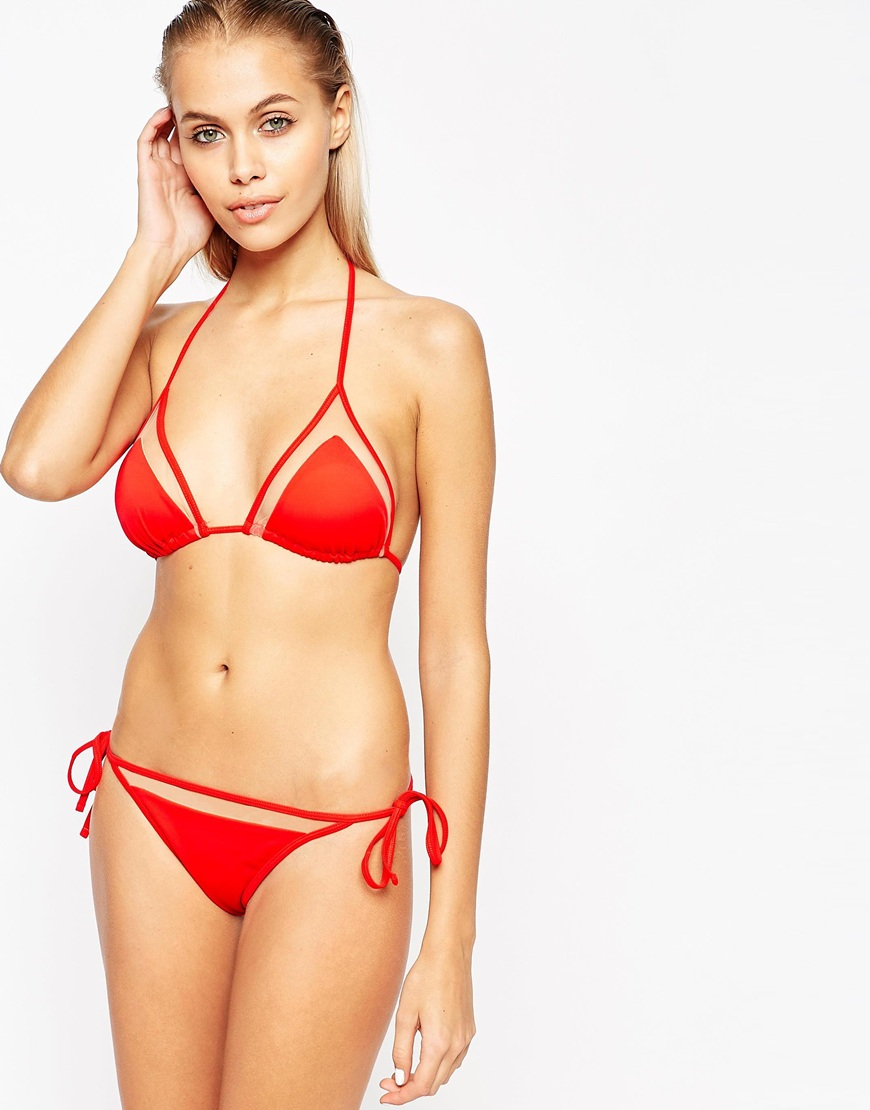 7a631c4b142a2 ASOS Mix And Match Mesh Insert Micro Triangle Bikini Top in Red - Lyst