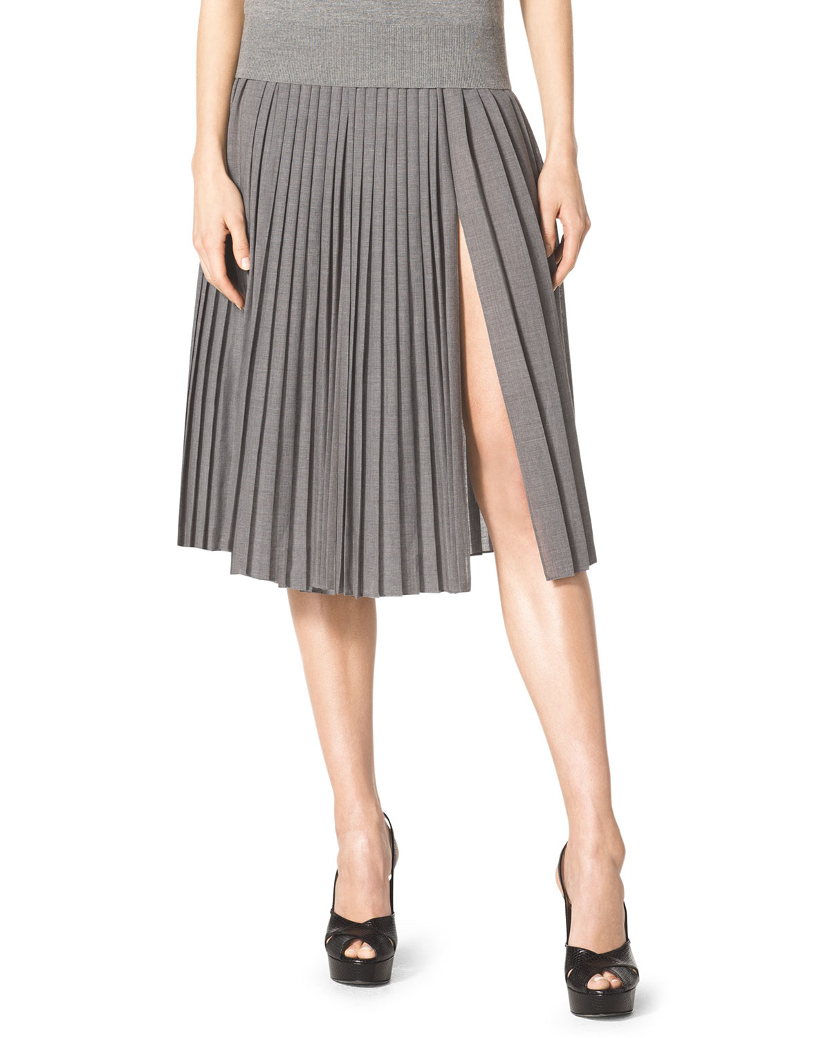 327df9eeb5 Michael Kors Pleated Slit-front Wool Skirt in Gray - Lyst