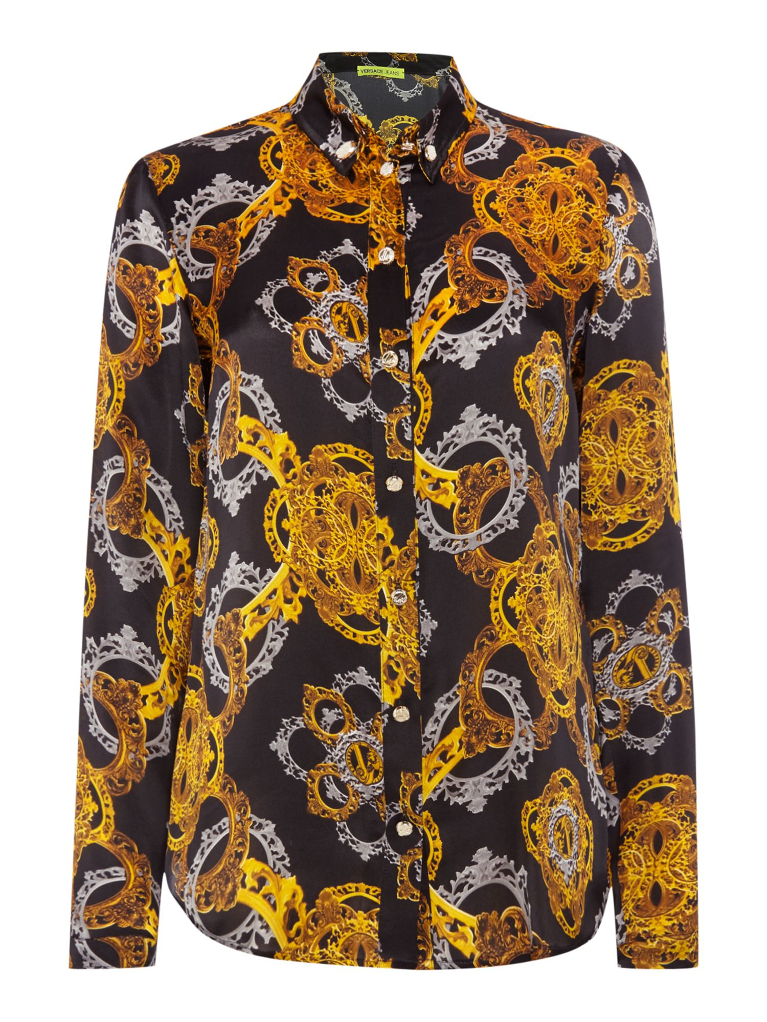 versace jeans long sleeve print shirt in multicolor black gold lyst. Black Bedroom Furniture Sets. Home Design Ideas