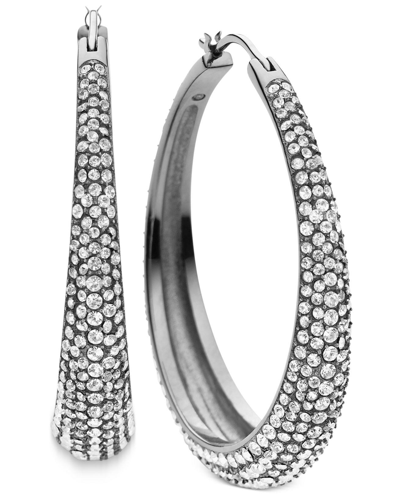 michael kors clear pav hoop earrings in silver lyst. Black Bedroom Furniture Sets. Home Design Ideas