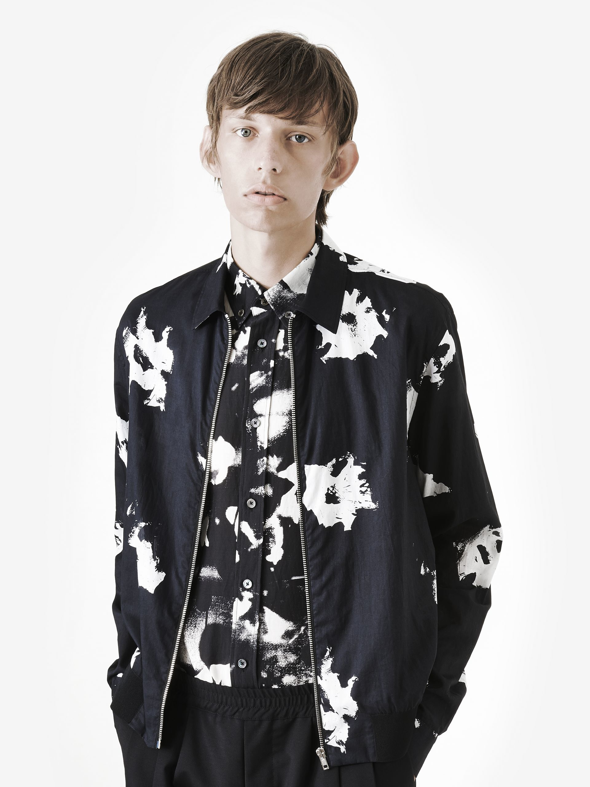 Mcq Floral-print Cotton Jacket in Black for Men