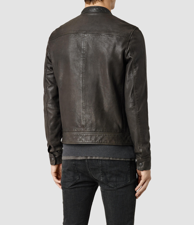 AllSaints Howard Leather Biker Jacket in Anthracite (Brown) for Men