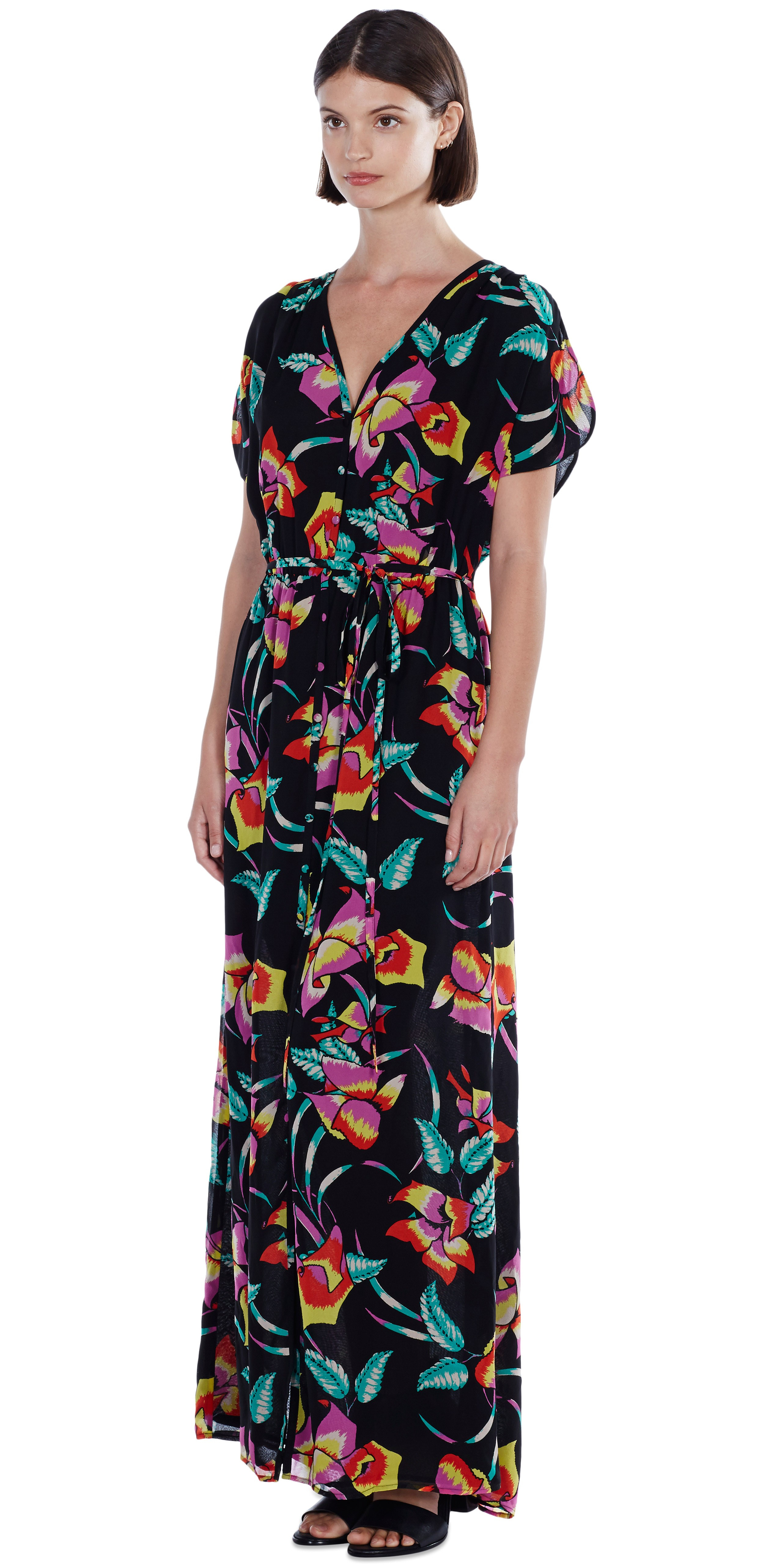 Joie Knightly Printed Cotton Silk Maxi Dress In Black Lyst