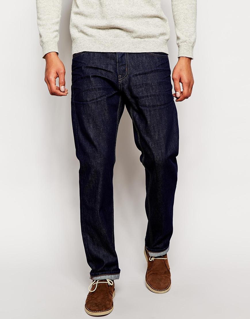 boss orange jeans in comfort fit dark denim in blue for. Black Bedroom Furniture Sets. Home Design Ideas