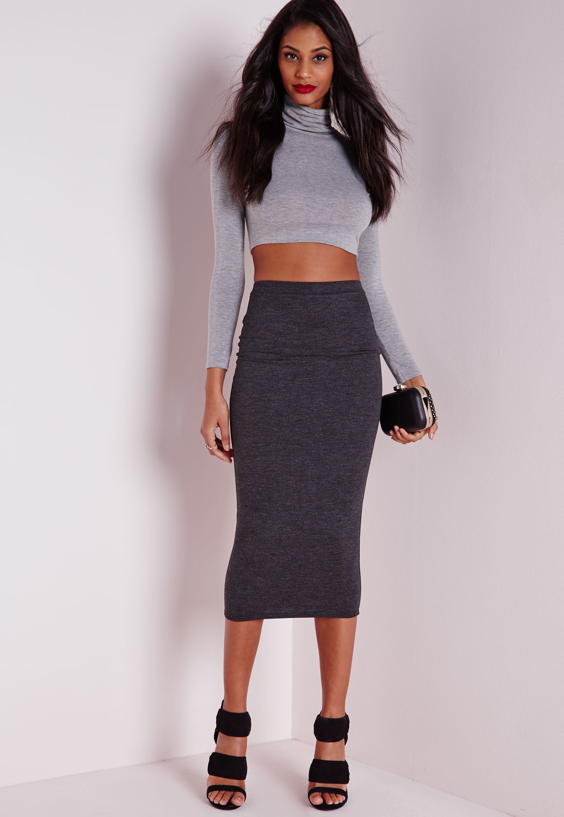 missguided longline jersey midi skirt charcoal grey in