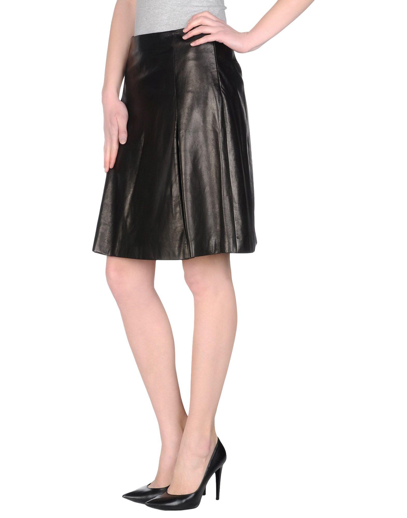 jil sander navy leather skirt in black lyst