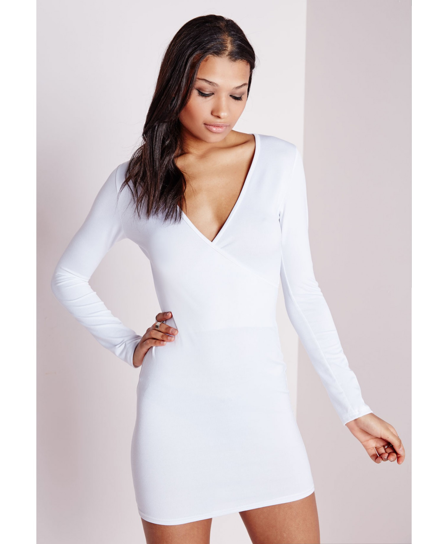 7433ab88282e Lyst - Missguided Long Sleeve Wrap Bodycon Dress White in White