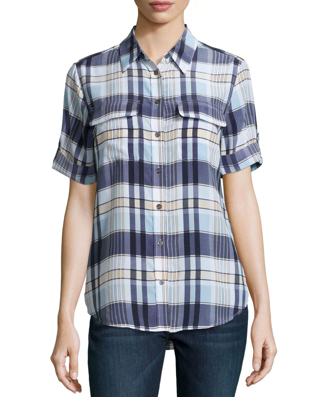 Equipment Slim Signature Short Sleeve Silk Shirt In Blue