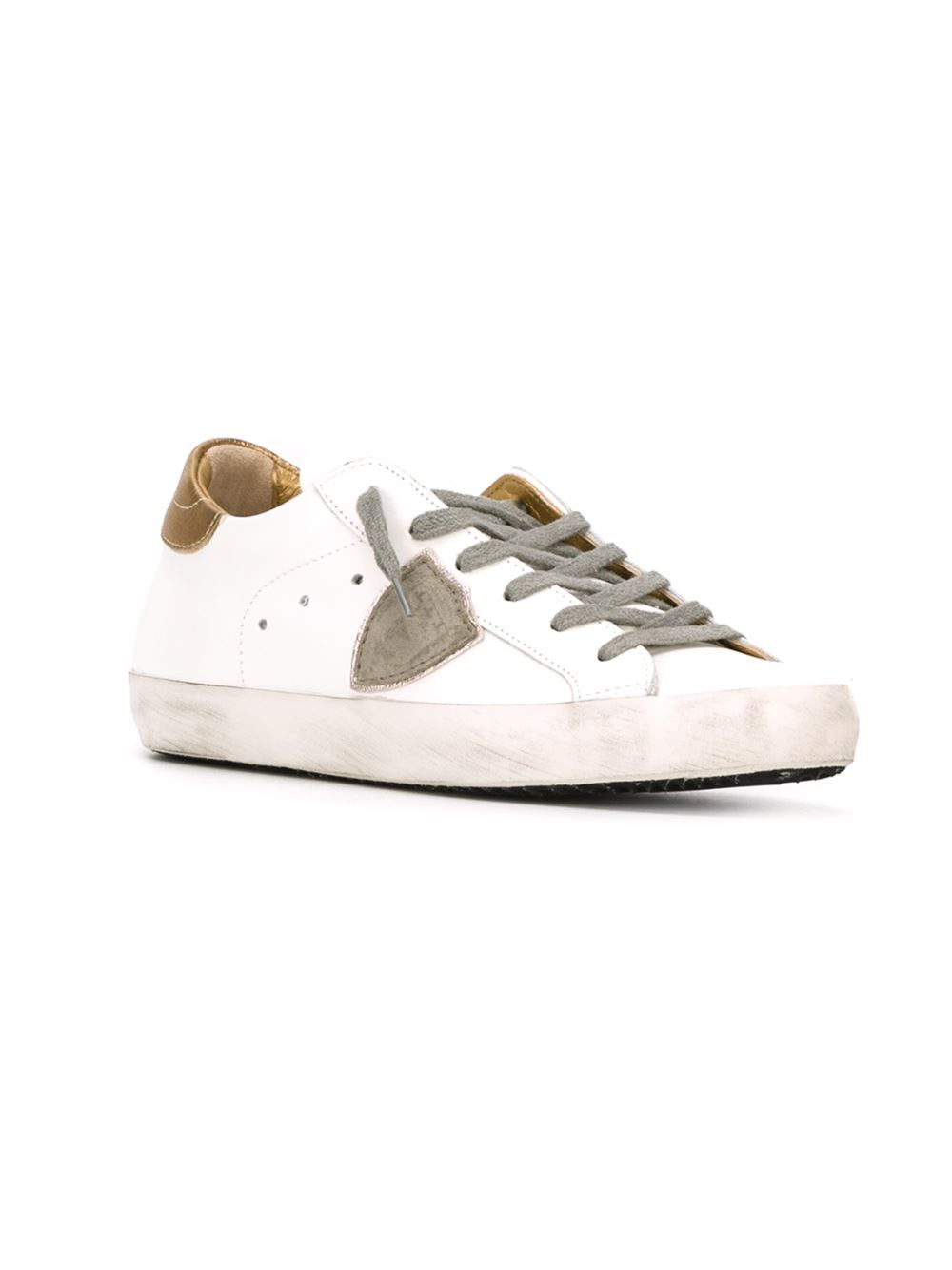 philippe model logo patch sneakers in white lyst. Black Bedroom Furniture Sets. Home Design Ideas