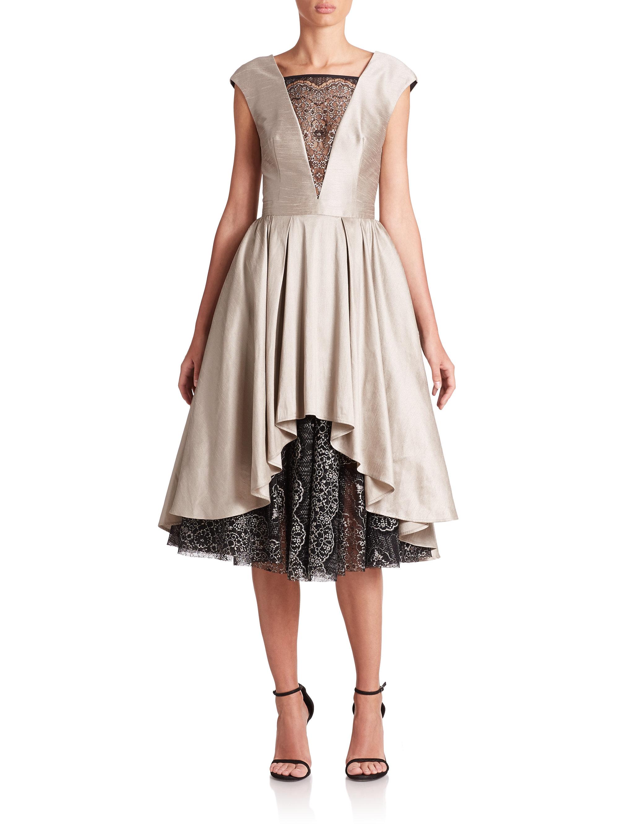 Lyst - Abs By Allen Schwartz Satin & Lace Cocktail Dress in Natural
