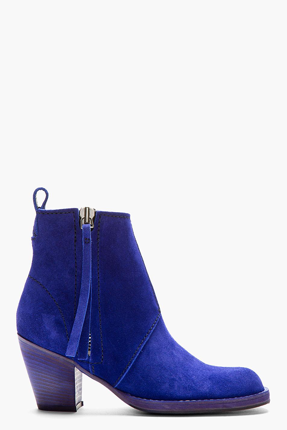 Acne Studios Indigo Blue Cuban Heel Suede Ankle Boot Lyst