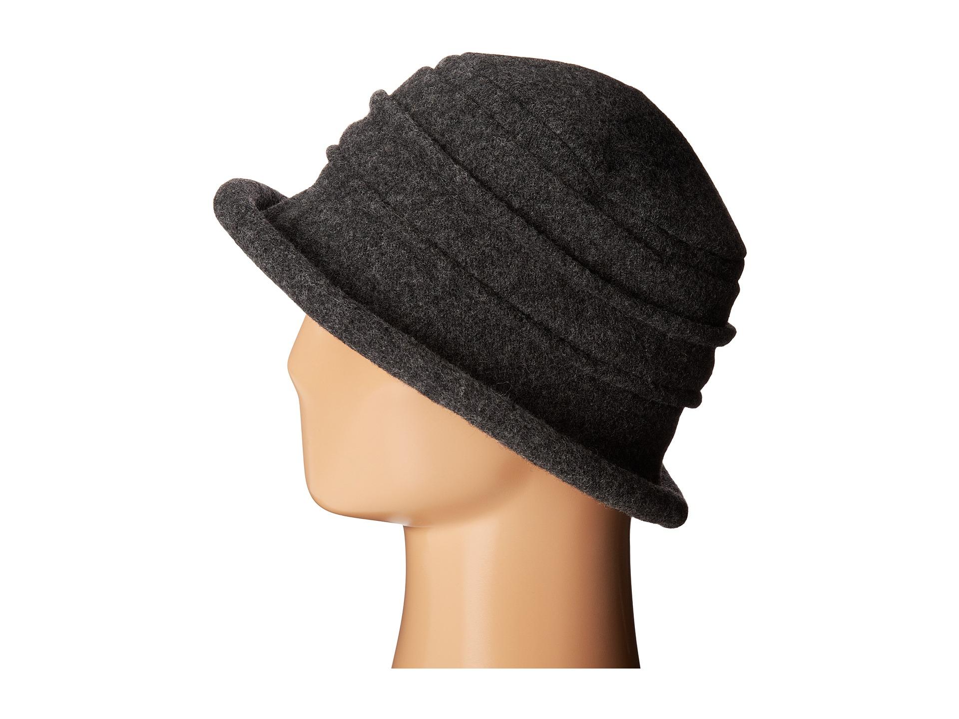 e7c9aa489ab Lyst - Scala Packable Wool Felt Cloche in Gray