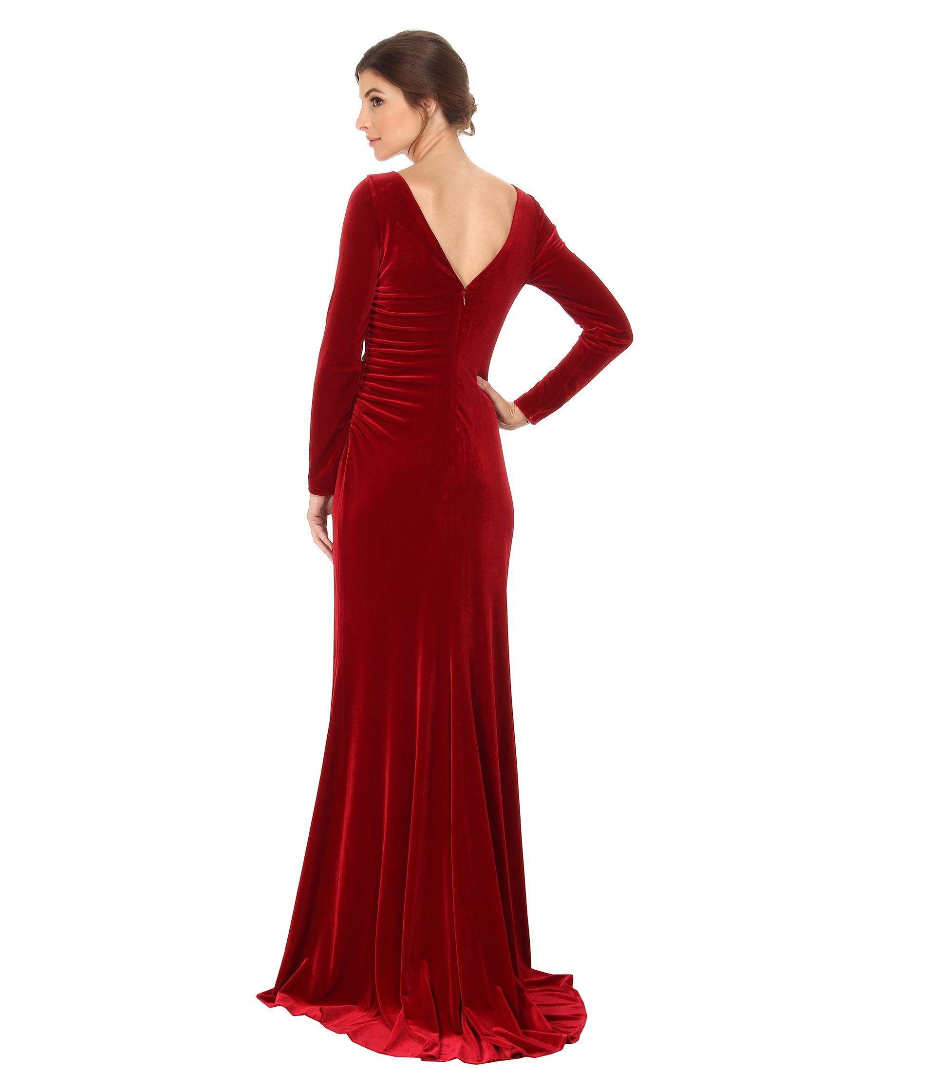 Stretch velvet dress long sleeve