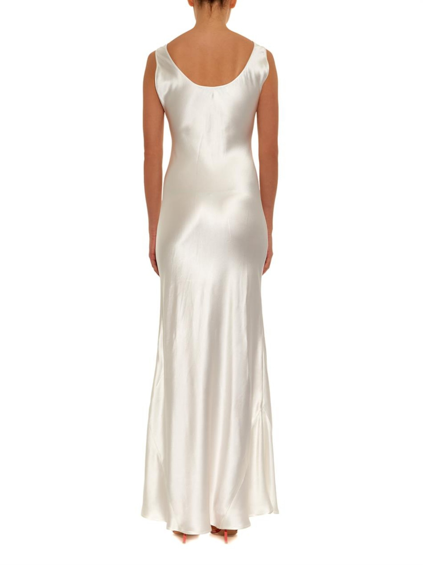 Galvan london silk bias cut gown in white lyst gallery ombrellifo Gallery