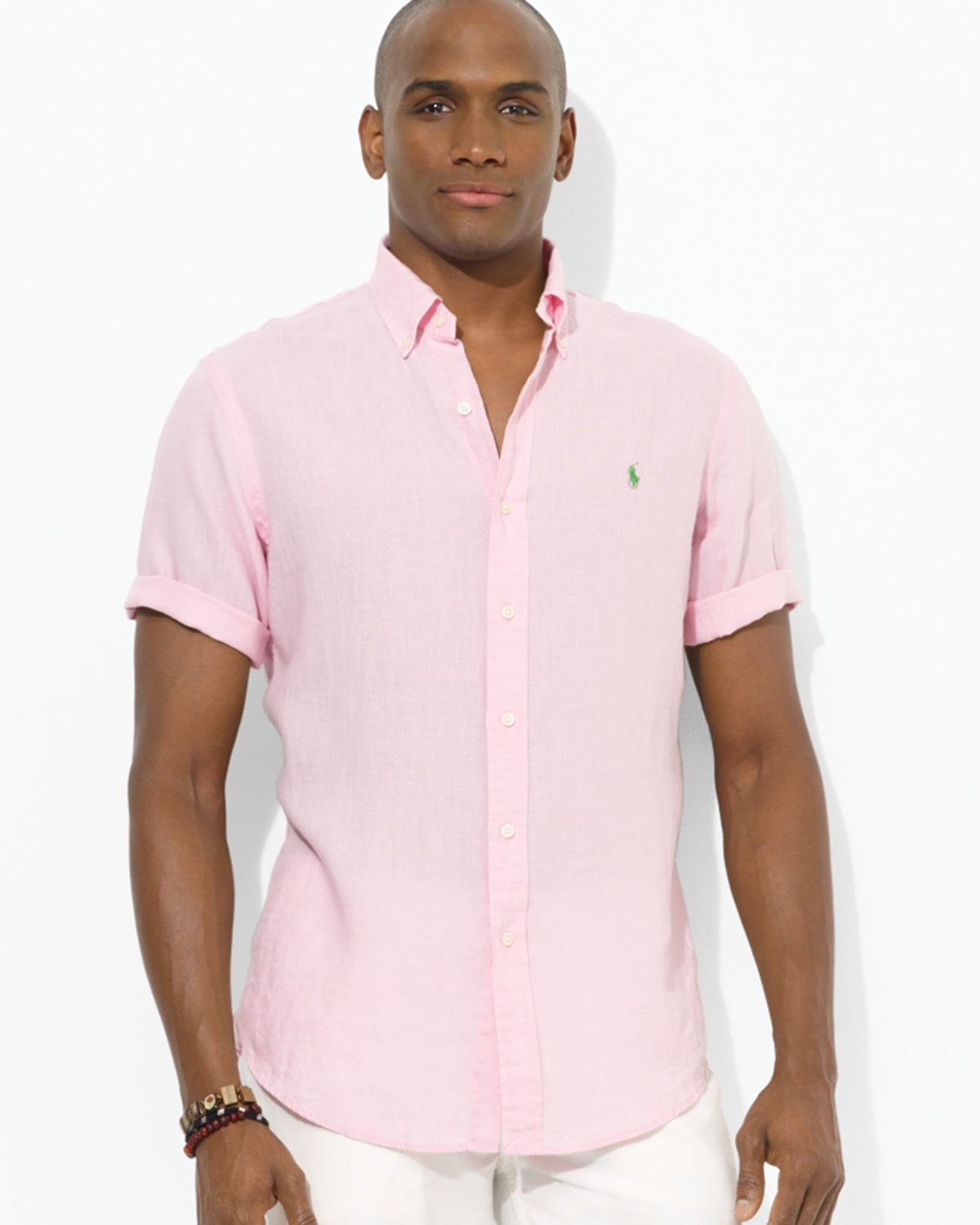 Ralph lauren Custom Fit Short Sleeved Linen Sport Shirt in Pink ...