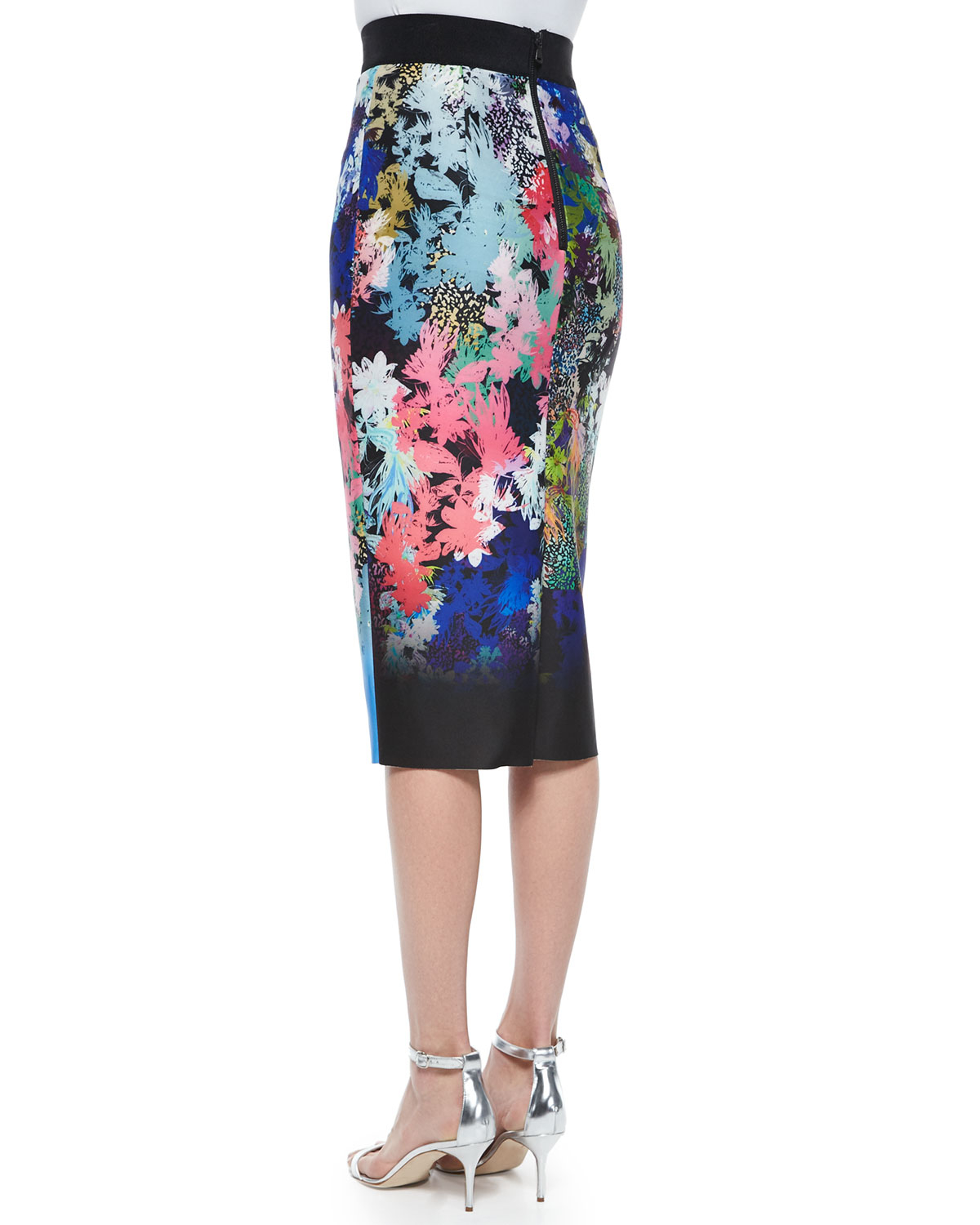 milly ombre floral print midi pencil skirt in multicolor