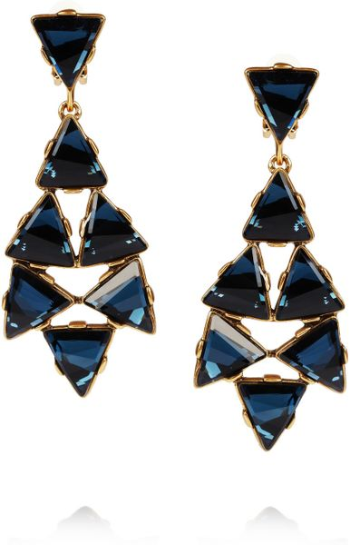 Oscar De La Renta 24karat Gold Plated Swarovski Crystal Clip Earrings in Gold