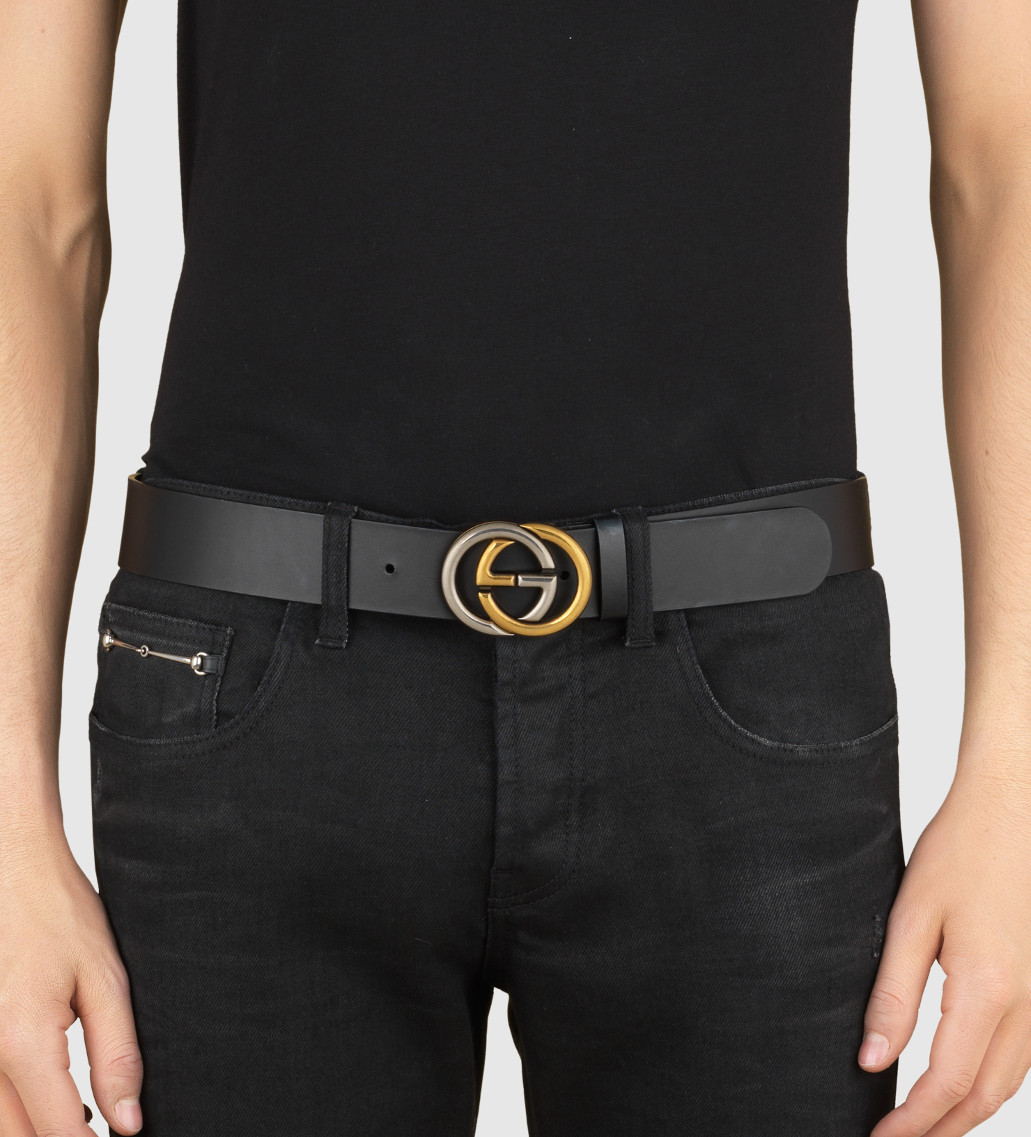 4527715ee75faa Gucci Leather Belt With Bi-color Interlocking G Buckle in Black - Lyst