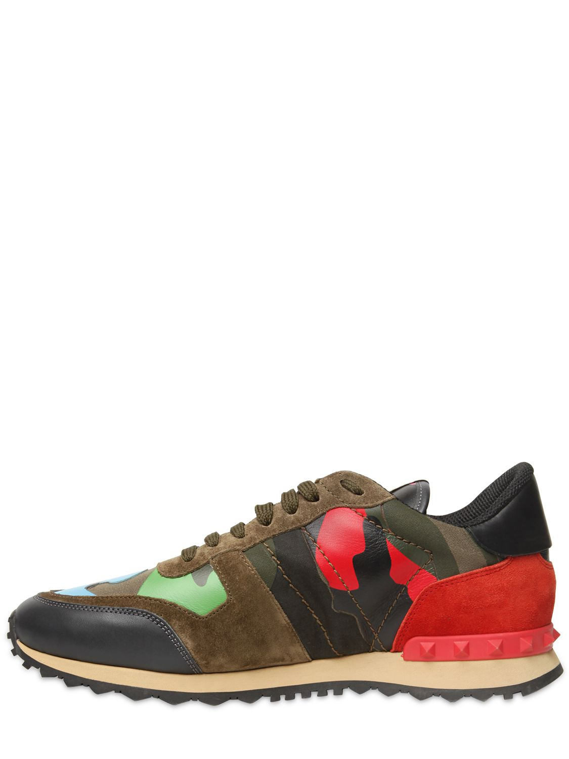 valentino rockstud camo canvas leather sneakers for