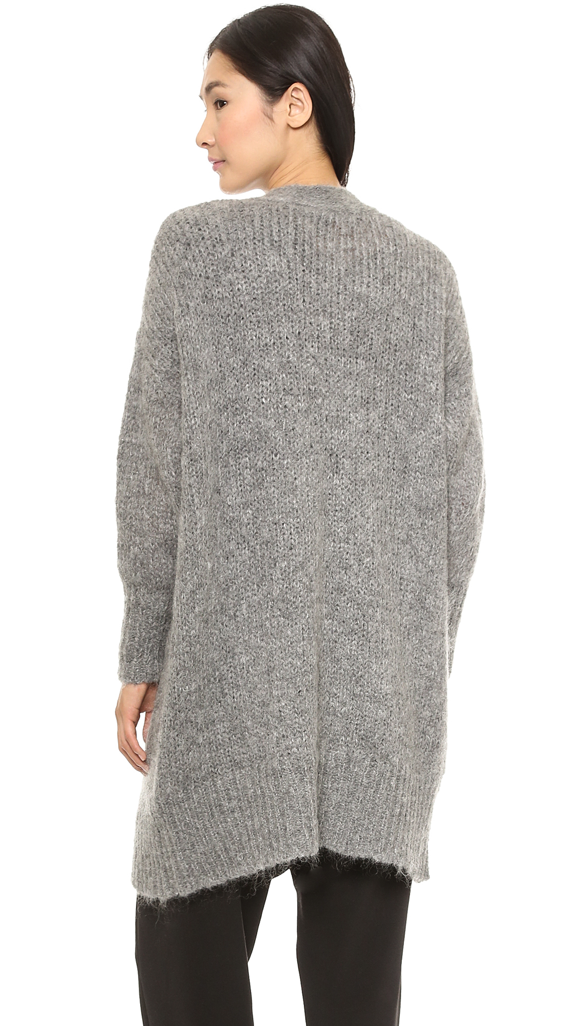 Dkny Long Sleeve Open Front Cardigan Heather Grey in Gray | Lyst