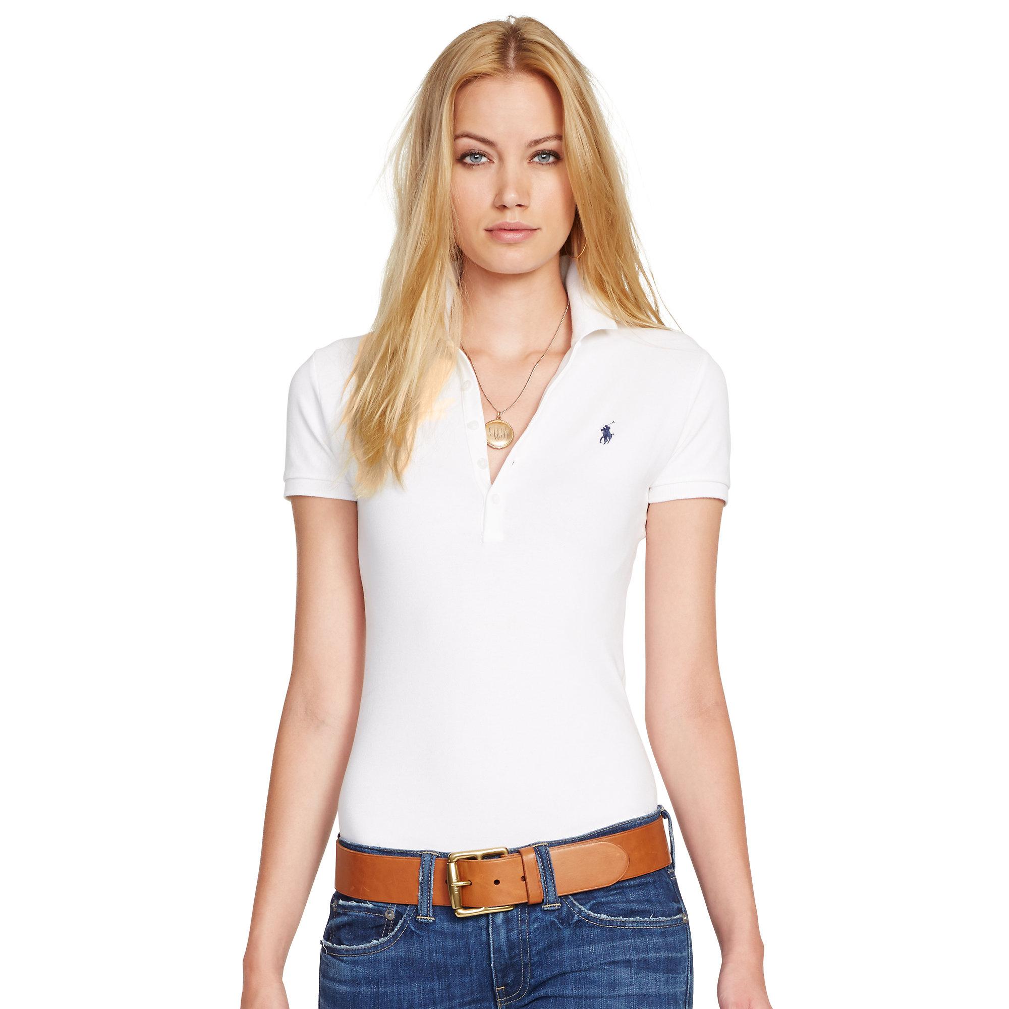 11f43baa2357 Lyst - Ralph Lauren Skinny Stretch Polo Shirt in White