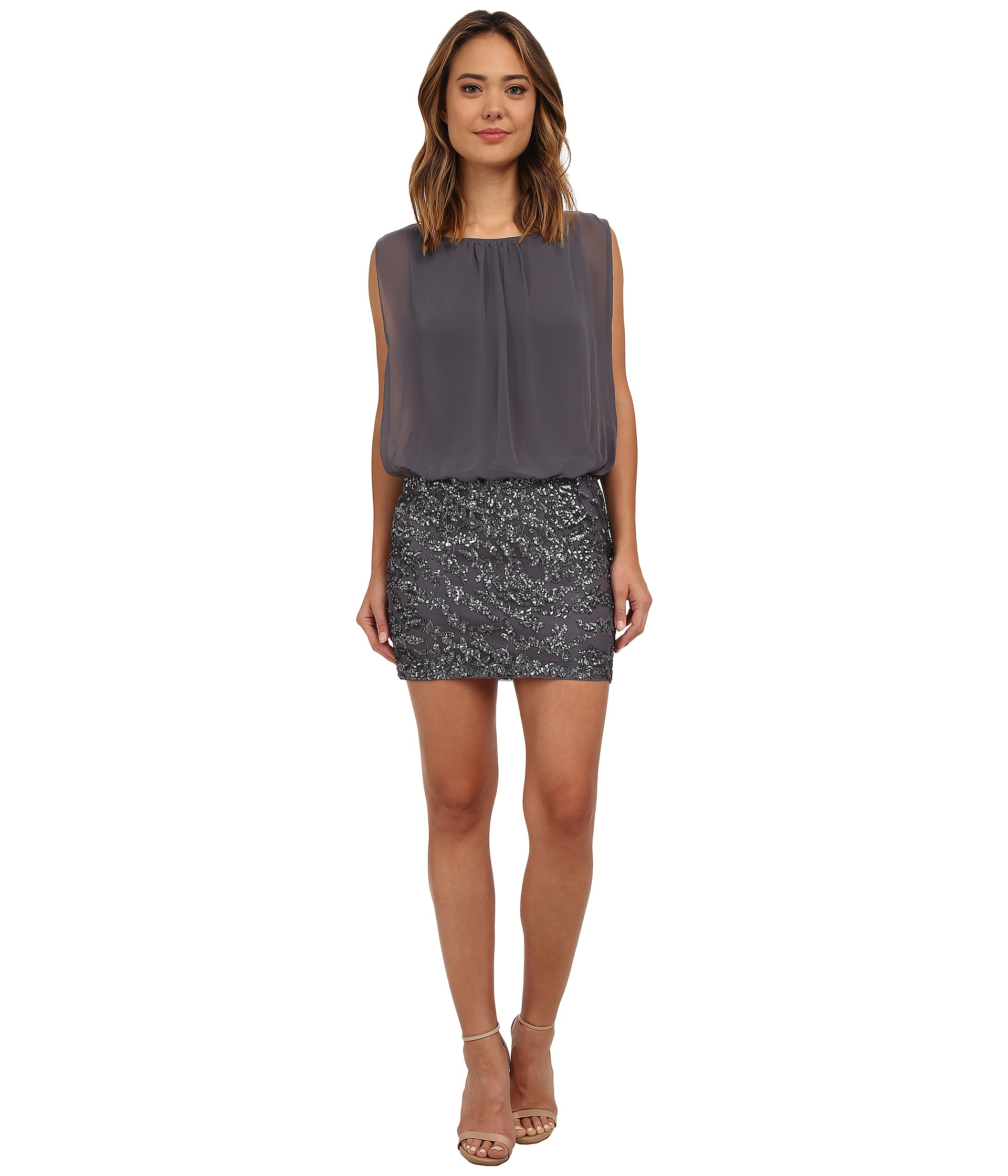 Aidan mattox Blouson Dress W/ Novelty Sequin Skirt in Gray | Lyst