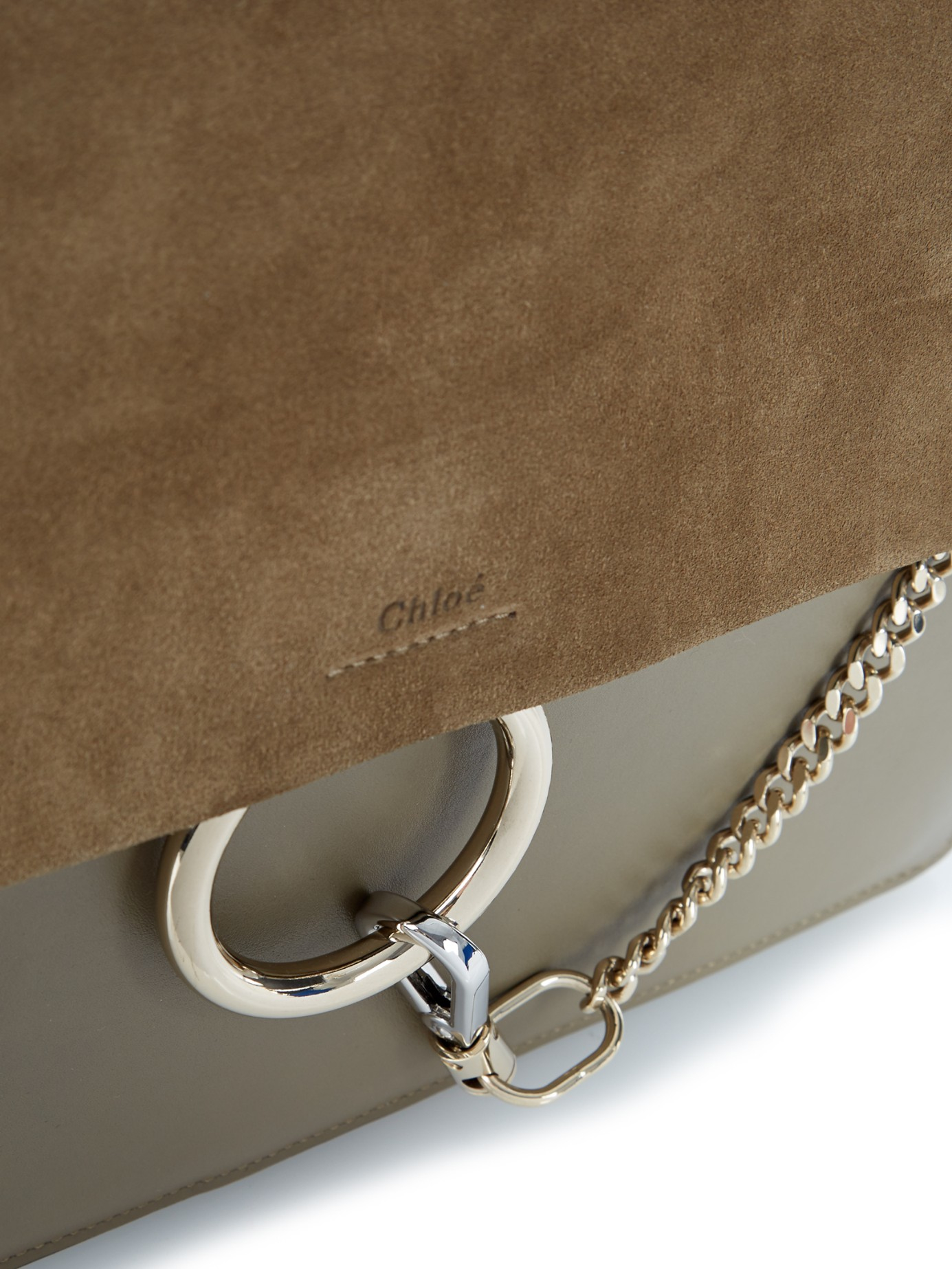a8e109d90bc8a Chloé Faye Leather and Suede Shoulder Bag in Natural - Lyst