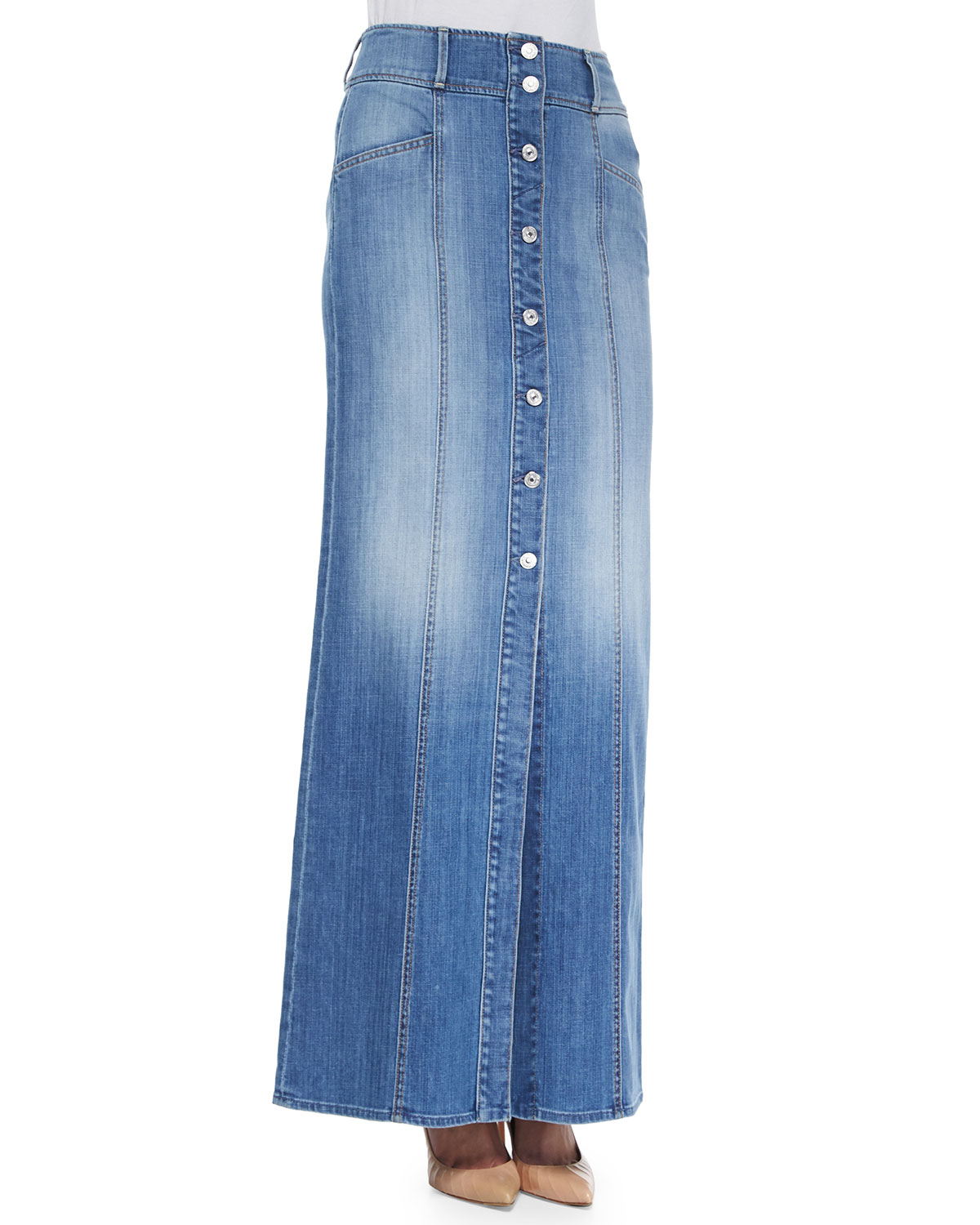 7 for all mankind button front denim skirt in blue