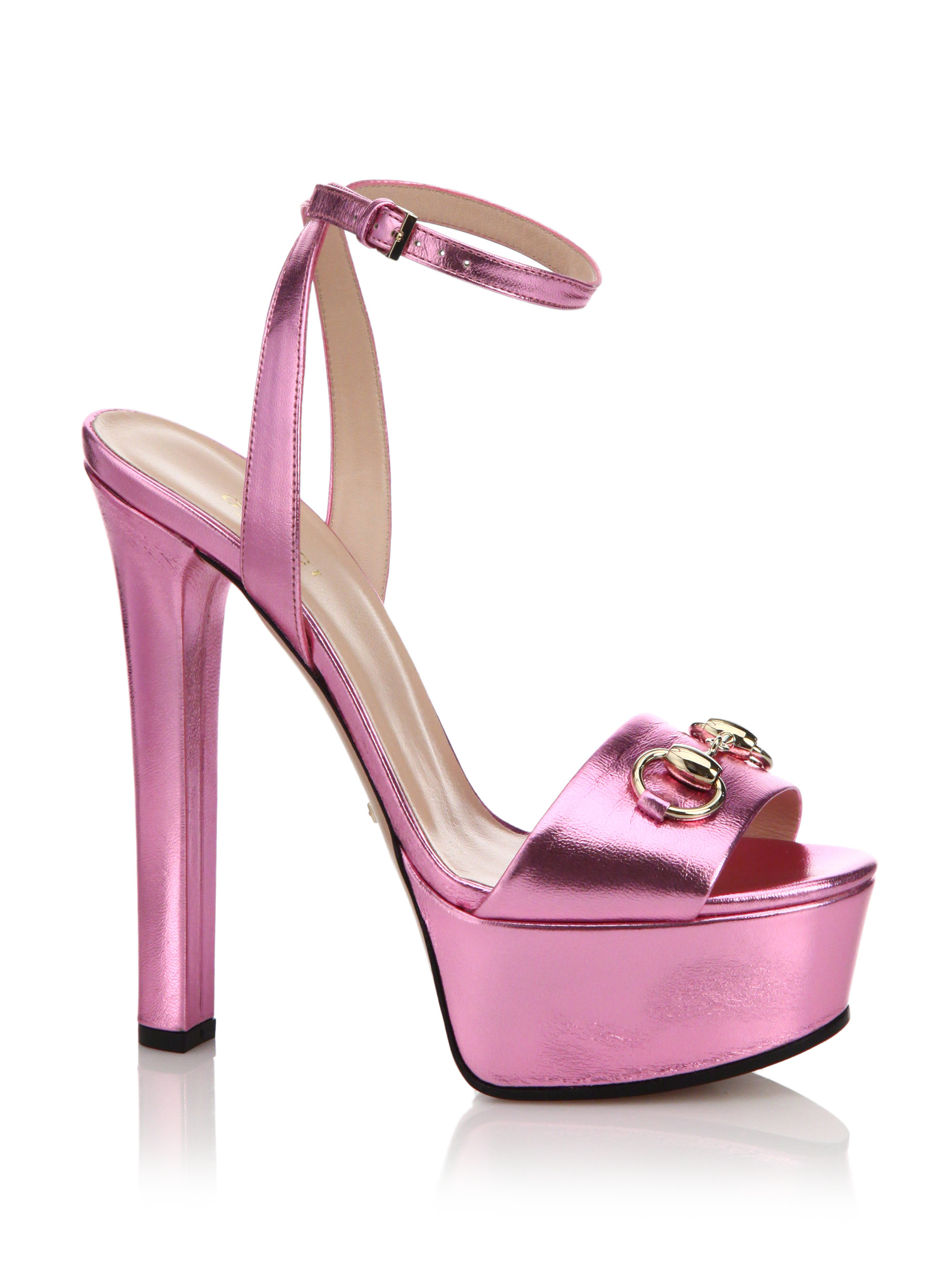 gucci leila metallic leather platform sandals in pink lyst