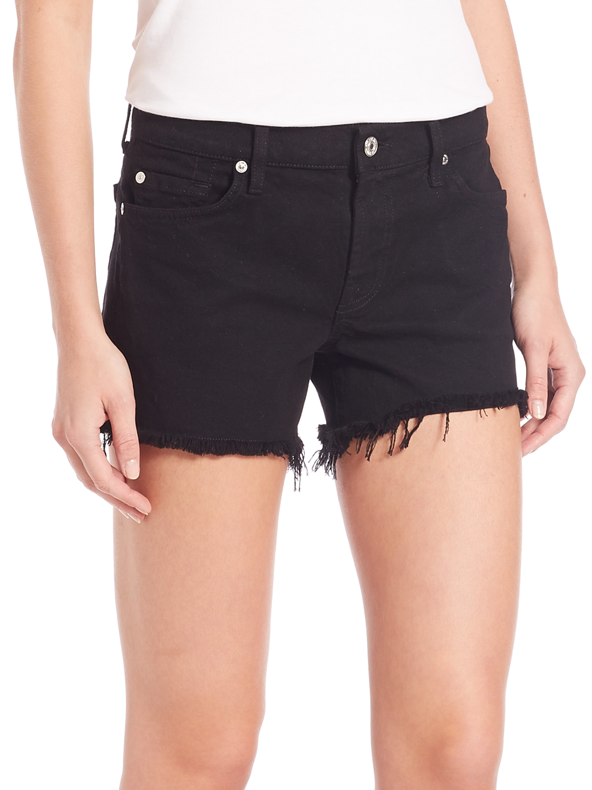 7 for all mankind Cut-off Denim Shorts in Black | Lyst