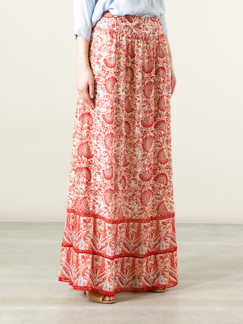 Tory burch Floral Print Maxi Skirt in Red | Lyst