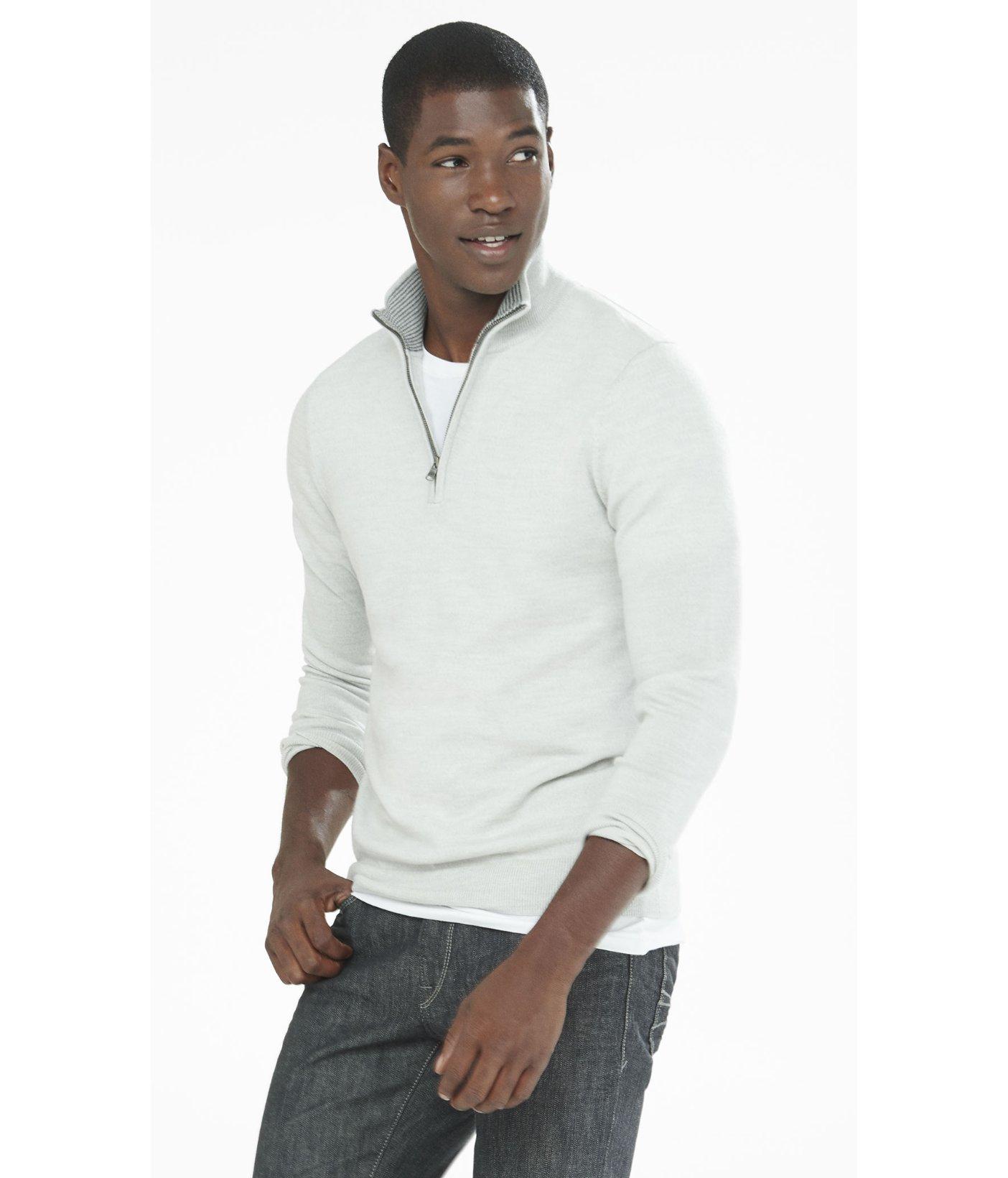 Merino Wool Zip Up Mock Neck Sweater 116