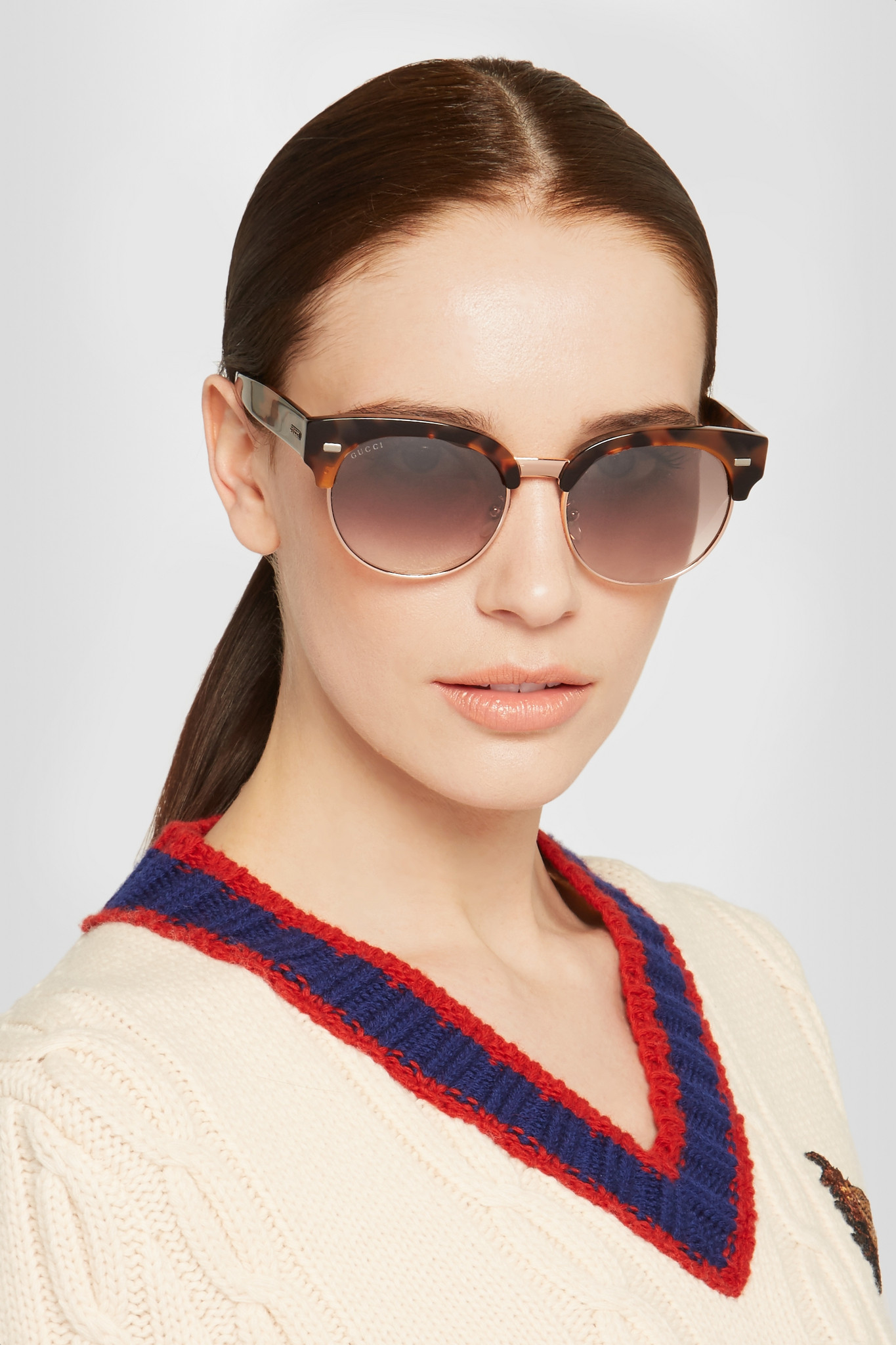90356047157 Gucci Round-frame Acetate And Gold-tone Sunglasses in Brown - Lyst