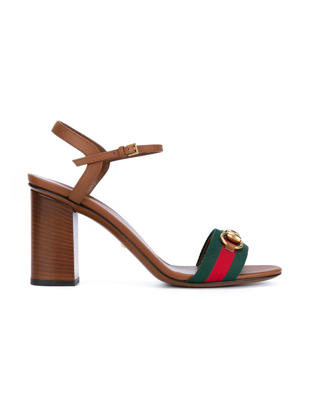 Gucci Leather Block Heel Sandals In Orange Lyst