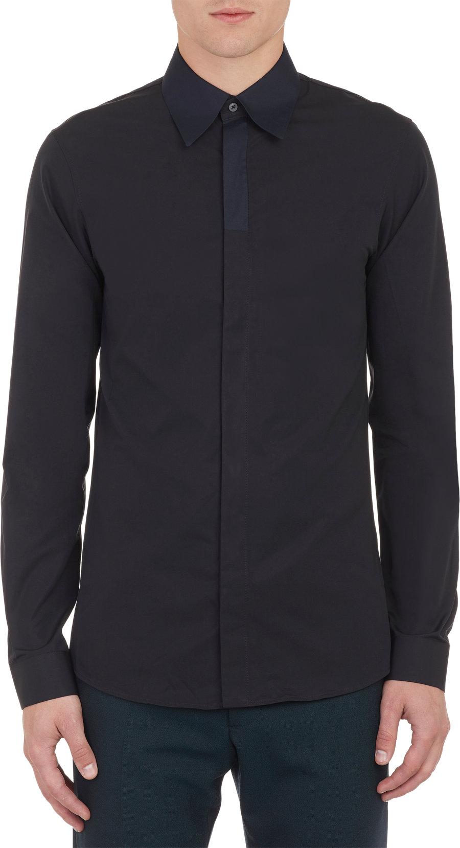 Lyst jil sander contrast collar slim shirt in black for men for Jil sander mens shirt