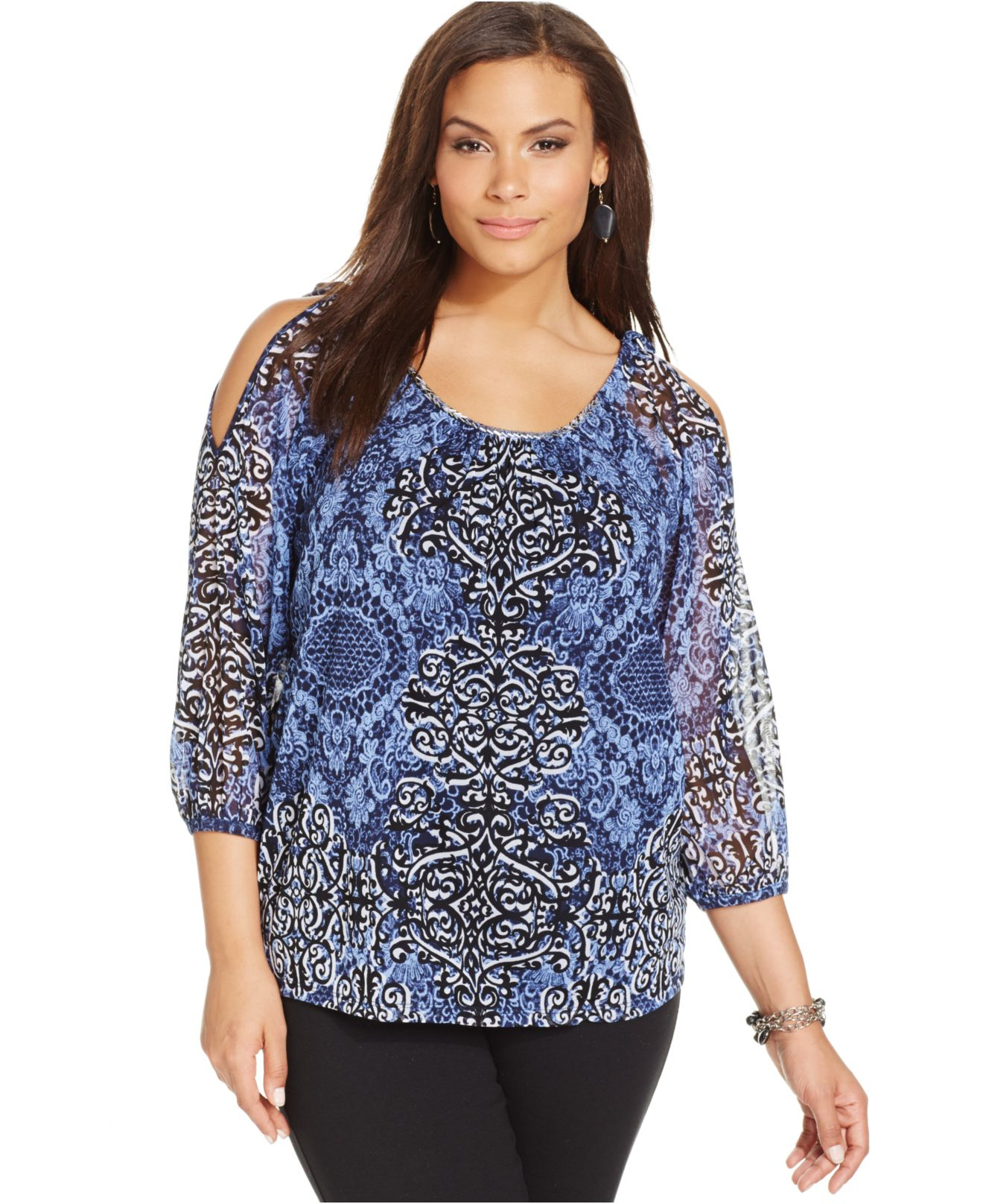 cf455df85385b0 Lyst - INC International Concepts Plus Size Cold-Shoulder Printed ...