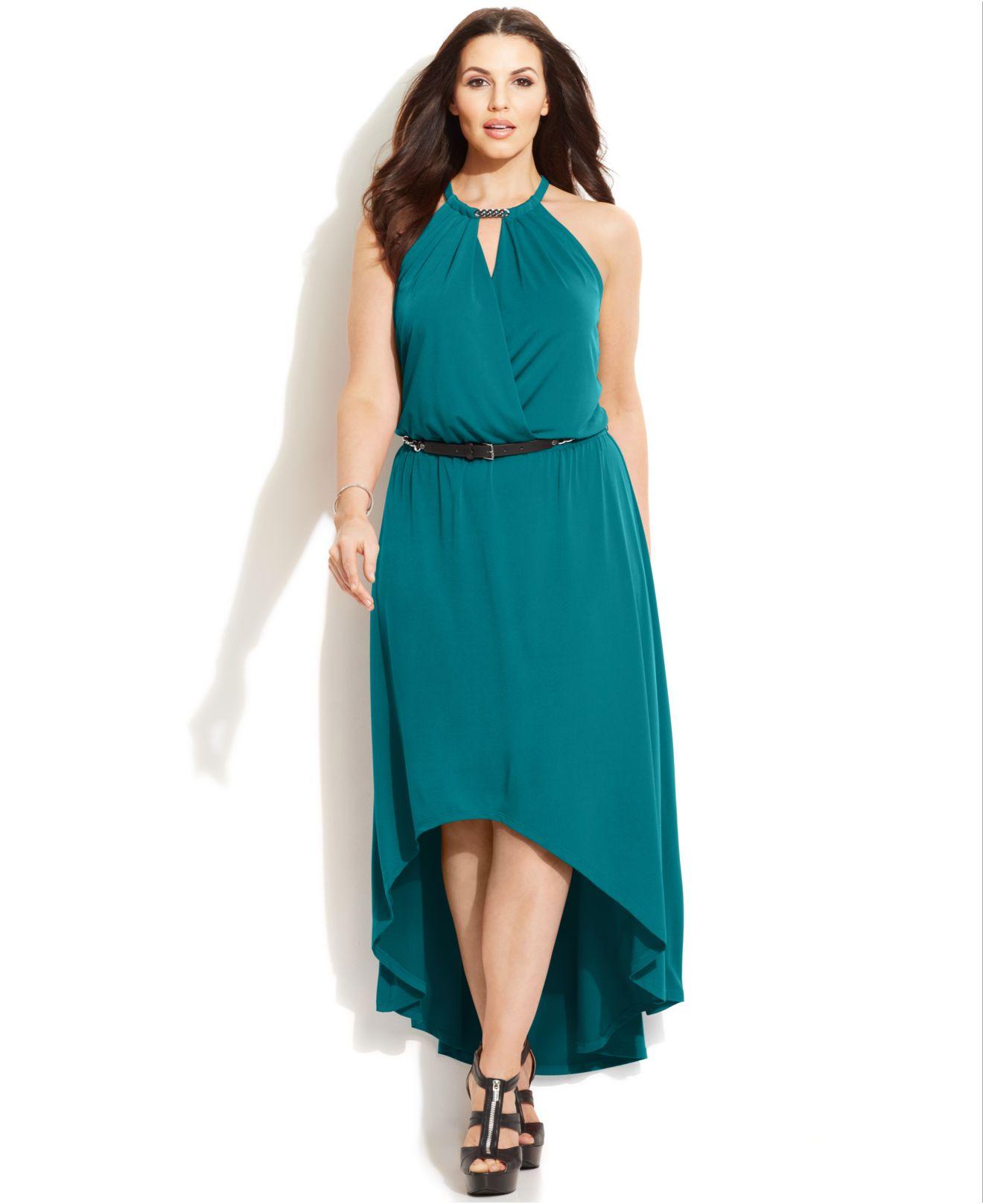 Michael Kors Blue Michael Plus Size Belted High-Low Maxi Dress
