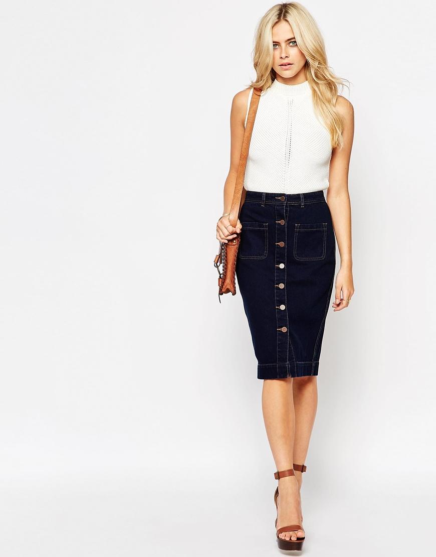 Fashion union Button Through Denim Midi Skirt in Blue | Lyst