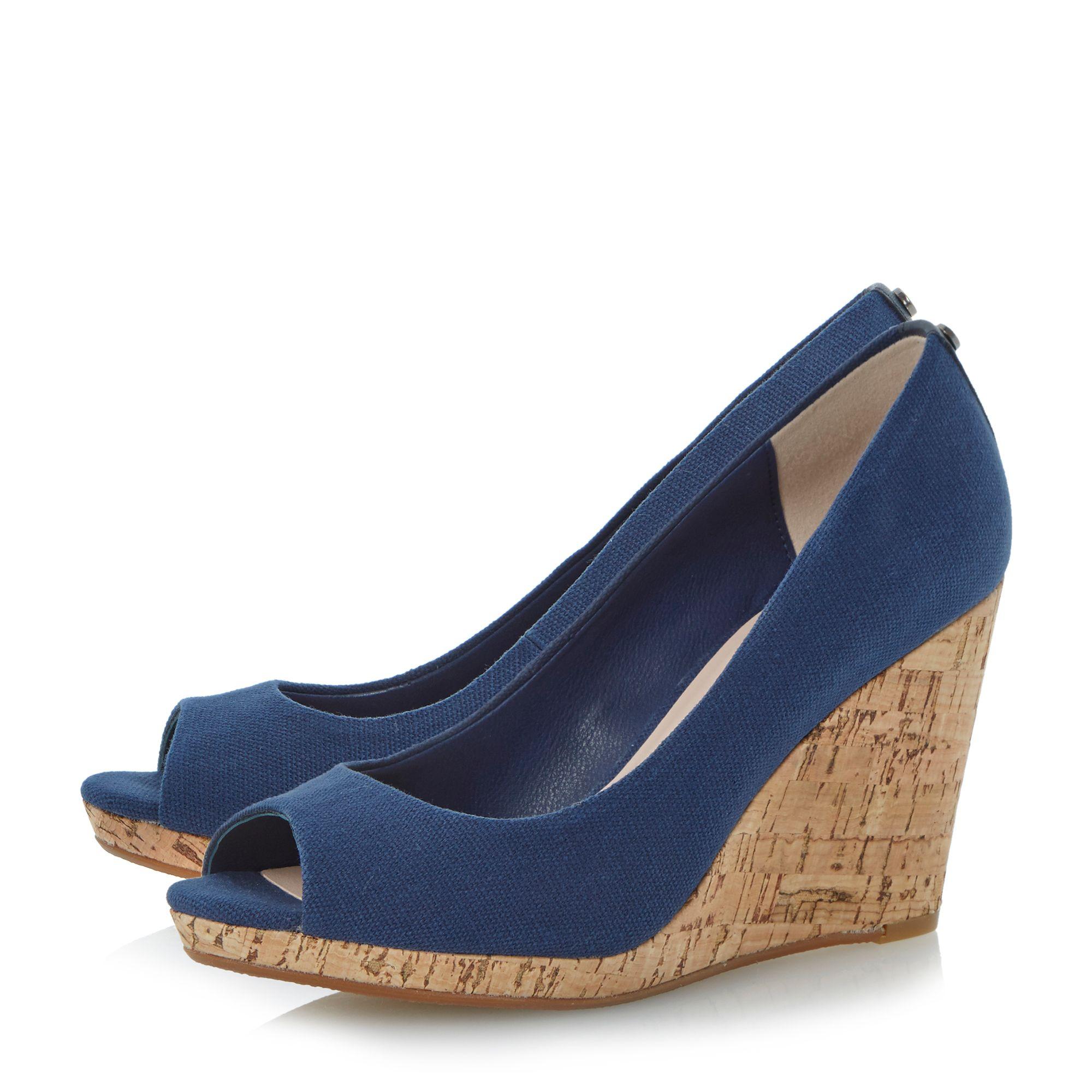 dune celia peeptoe wedge court shoes in blue lyst