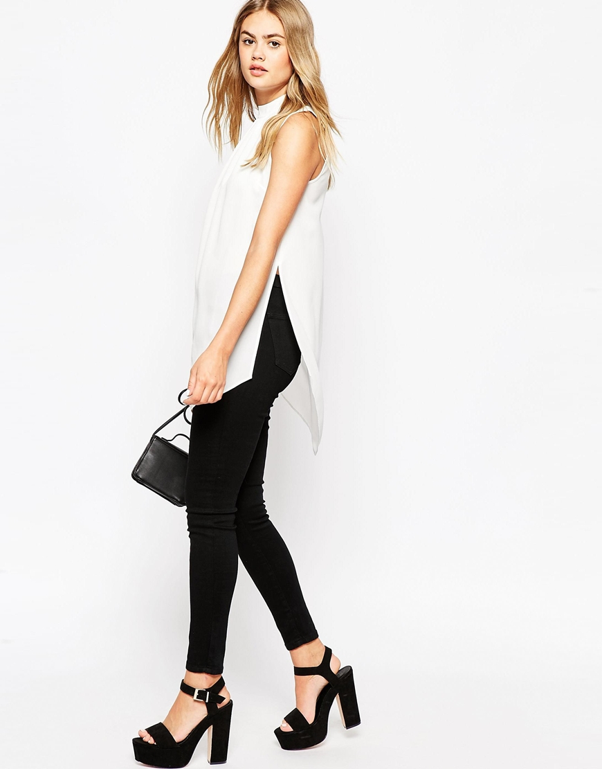 0daa8a56331f8 Lyst - ASOS Sleeveless Longline Tunic Top With Side Splits in White