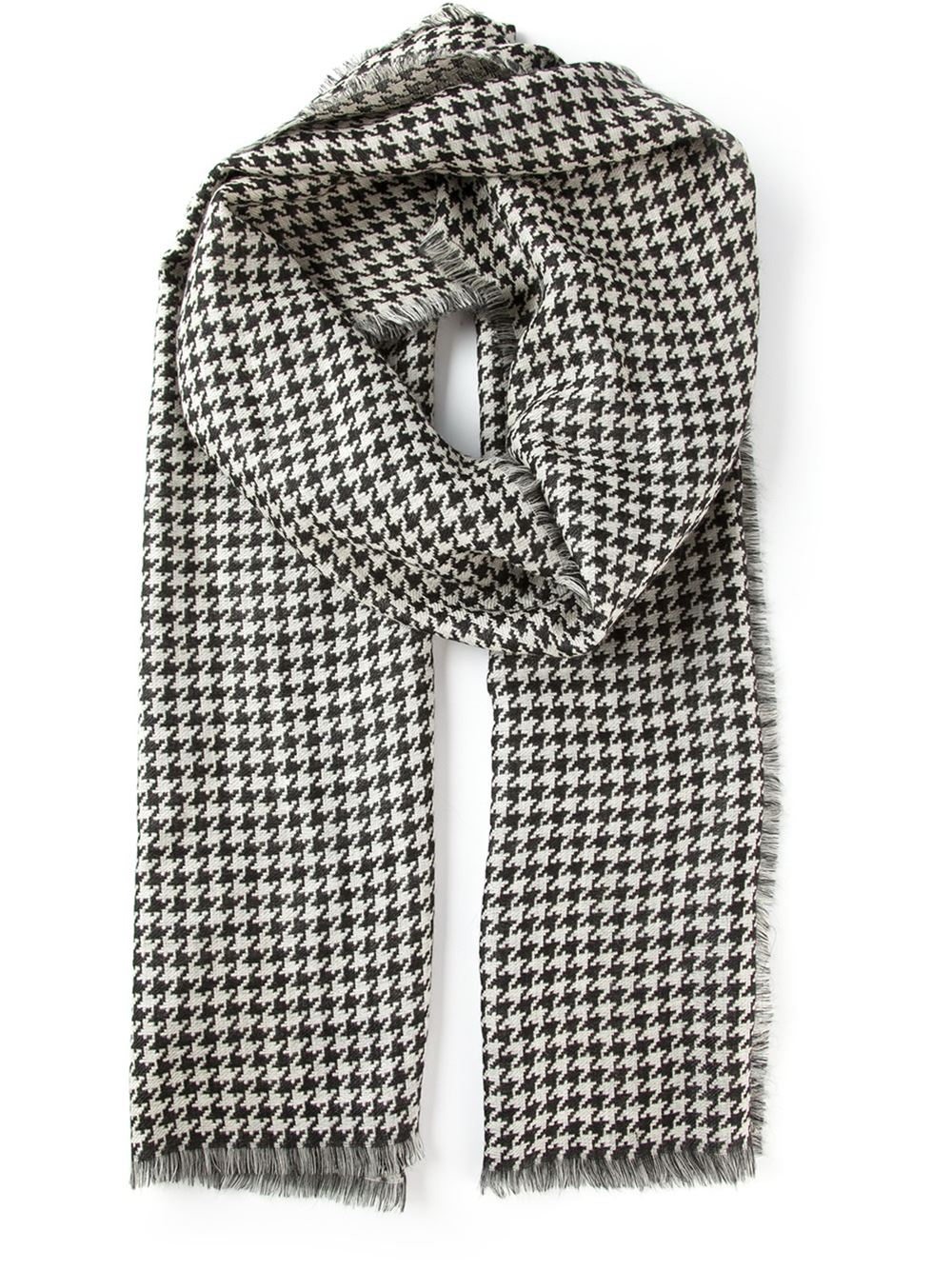 Knitting Pattern For Houndstooth Scarf : Jil sander Houndstooth Scarf in Black for Men Lyst
